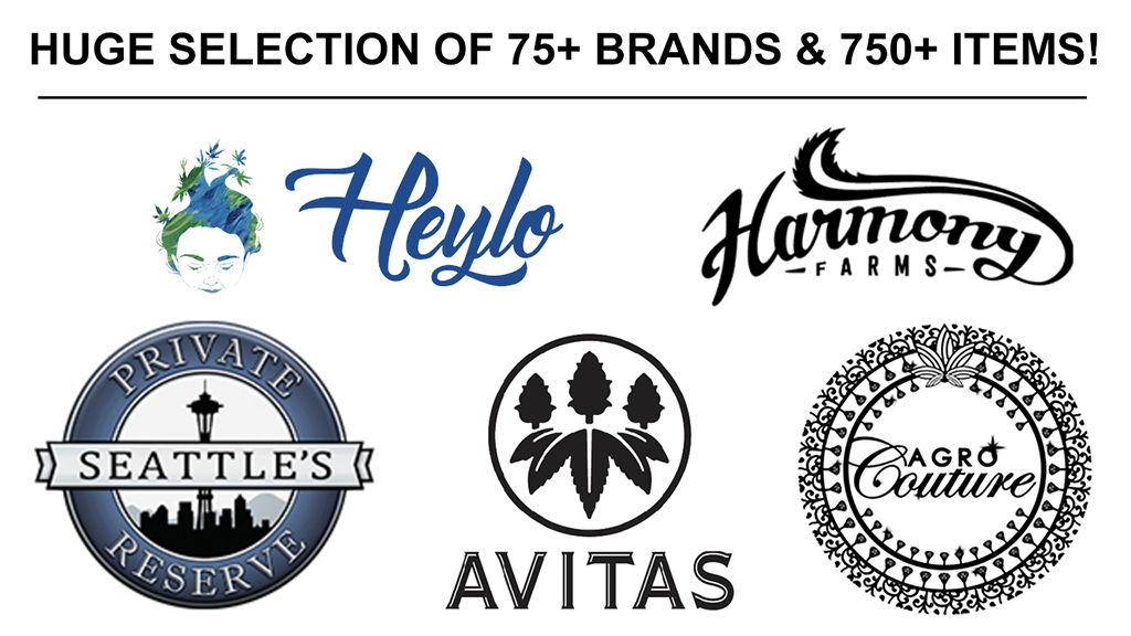 PuffNChill Best Cannabis in Lynnwood Brand Highlights - Heylo, Harmony Farms, Seattle's Private Reserve, Avitas, Agro Couture